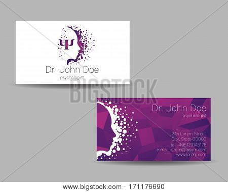 Psychology vector visit card. Modern sign . Creative style. Design concept. Brand company. Violet color isolated on grey background. Symbol for web, print. visiting personal set illustration