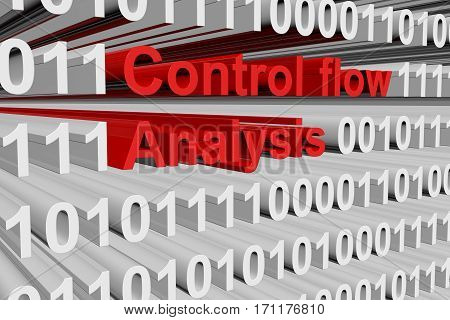 control flow analysis in the form of binary code, 3D illustration