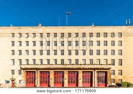 Fire station building in Northampton England United Kingdom.