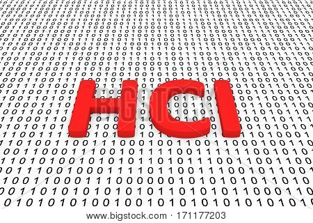 hci in the form of binary code, 3D illustration