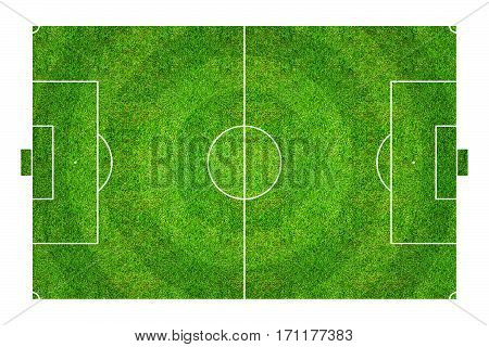 Football field or soccer field pattern and texture. Abstract soccer field or football field background for create soccer tactic. Isolated on white background with clipping path.