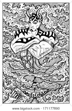 Ginn or Genie and magic lamp. Fantasy creatures collection. Hand drawn vector illustration. Engraved line art drawing, black and white doodle