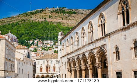 buildings in the street next to famous Stradun among them the Rector's Palace Dubrovnik Croatia