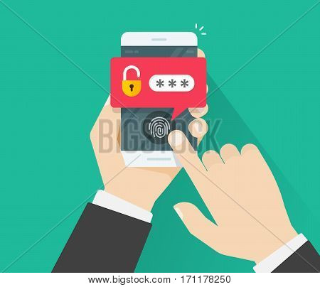 Hands with mobile phone unlocked with fingerprint button and password notification vector, concept of security, personal access via finger, user authorization, login, protection technology