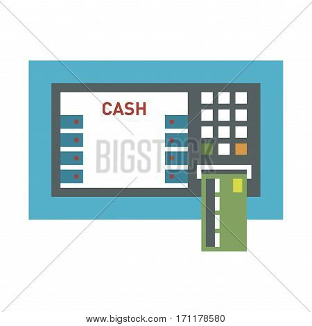ATM payment terminal vector illustration. Screen service transaction keypad business. Metal commerce computer shopping automated keyboard card technology.