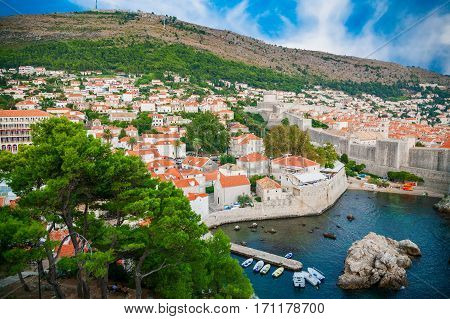 beutiful aerial view of the old part of Dubrovnik town with City Walls Croatia