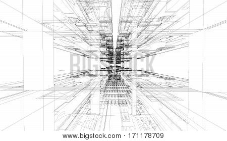 Abstract 3D render of building wireframe structure. Architectural construction graphic idea.