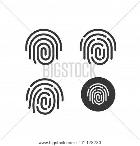 Fingerprint icons set vector, round shaped fingerprint symbol isolated on white background