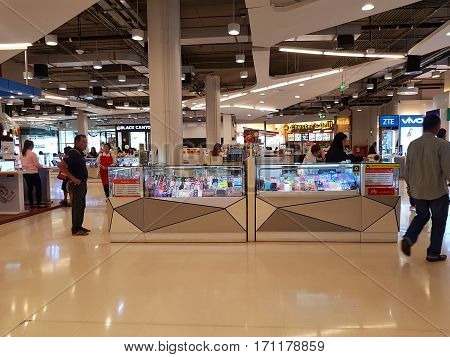 CHIANG RAI THAILAND - FEBRUARY 2 : Department store interior view with mobile phone zone at Central Plaza on February 2 2017 in Chiang rai Thailand.