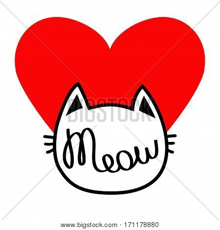 White cat head silhouette shape. Meow lettering text. Love card. Cute cartoon character. Big red heart. Kawaii animal. Baby pet collection. Sign Symbol. Flat design. White background. Isolated. Vector