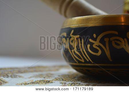 Tibetan singing bowl for meditation healing ringing