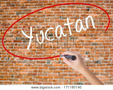 Woman Hand Writing Yucatan  With Black Marker On Visual Screen