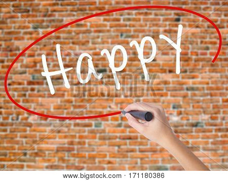 Woman Hand Writing Happy Black Marker On Visual Screen