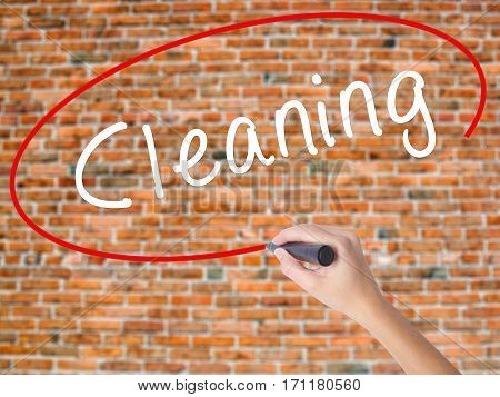 Woman Hand Writing Cleaning With Black Marker On Visual Screen