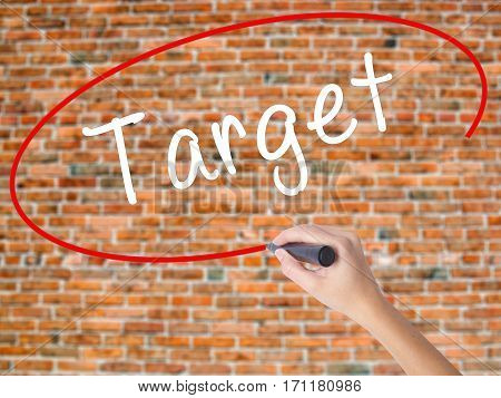 Woman Hand Writing Target With Black Marker On Visual Screen