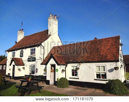 Hatfield, UK, January 17, 2017 : The Woodman Inn outside the city centre is a traditional British public house serving a pub food menu