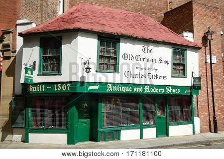 London, UK, August, 27 2007 : The Old Curiosity Shop in Portsmouth Street, Holborn is a 16th century building which may have been the inspiration for the Dickens novel and is now a shoe and clothing shop
