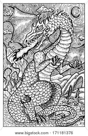 Dragon. Fantasy creatures collection. Hand drawn vector illustration. Engraved line art drawing, black and white doodle