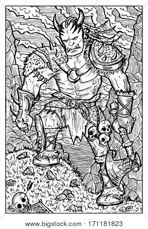 Orc, troll or goblin. Fantasy creatures collection. Hand drawn vector illustration. Engraved line art drawing, black and white doodle
