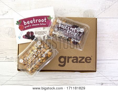 SWINDON UK - FEBURARY 14 2017: New 2017 Snackspiration Graze Box by graze.com snacking reinvented healthy snacks delivered to your door or work place