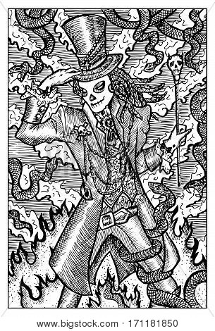 Baron Samedi, day of the dead. Fantasy creatures collection. Hand drawn vector illustration. Engraved line art drawing, black and white doodle