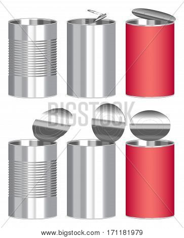 set of a steel cylinder canned food box