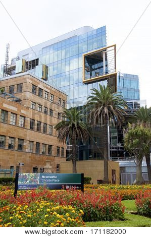 14 February 2017, Newcastle, Australia: NeW Space is a $95 million landmark precinct under development by the University of Newcastle in the centre of the Newcastle's CBD. It will house the law and business programmes among other functions.