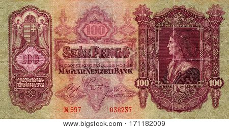 Old Hungarian banknote Magyar 100 pengo 1930. Isolated on a white background. Currently not used.