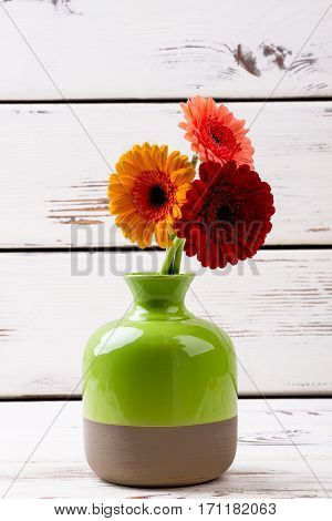 Enameled vase with gerberas. Flowers in vase on wood. How to grow plants. Beautiful items of room design.