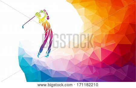 Golf Sport Silhouette of Golfer finished hitting Tee-shot on rainbow polygonal background