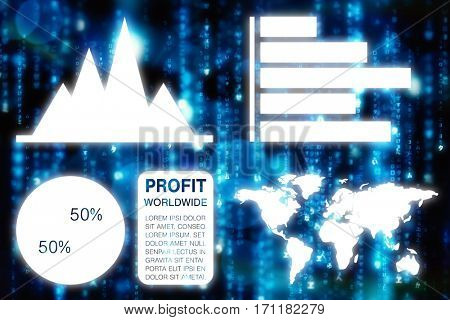 Graphic image of business presentation with charts and map against digitally generated black and blue matrix