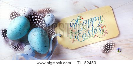 Happy Easter; festive background with easter eggs and holidays card