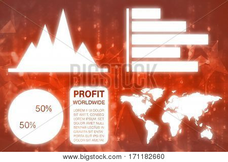 Graphic image of business presentation with charts and map against abstract background