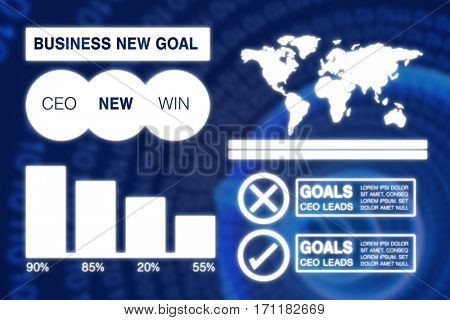 Graphic image of business presentation with charts and map against binary spiral with blue glow