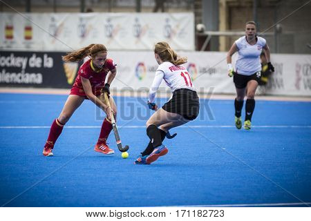 VALENCIA, SPAIN - FEBRUARY 12: (R) Polewczak (L) Garcia during Hockey World League Round 2 Final match between Spain and Poland at Betero Stadium on February 12, 2017 in Valencia, Spain