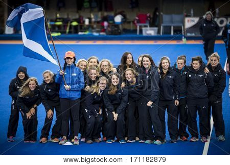 VALENCIA, SPAIN - FEBRUARY 12: Scottish team during Hockey World League Round 2 Final match between Spain and Poland at Betero Stadium on February 12, 2017 in Valencia, Spain