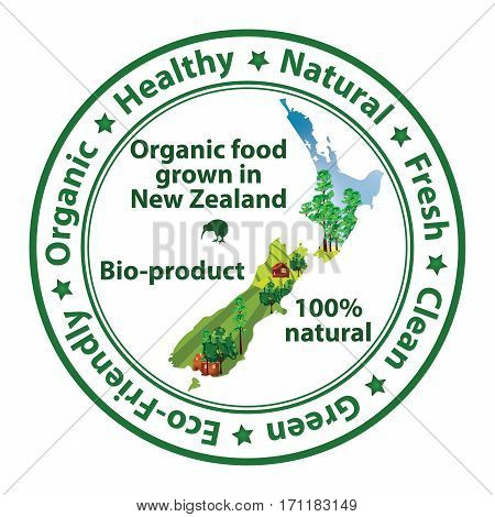 Organic food grown in New Zealand, Bio product, 100% Natural - food stamp with the map of New Zealand. Print colors used