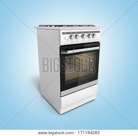 Gas Stove 3D Render On Blue Background