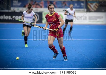 VALENCIA, SPAIN - FEBRUARY 12: Belen Iglesias with ball during Hockey World League Round 2 Final match between Spain and Poland at Betero Stadium on February 12, 2017 in Valencia, Spain
