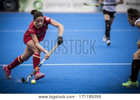 VALENCIA, SPAIN - FEBRUARY 12: Beatriz Perez with ball during Hockey World League Round 2 Final match between Spain and Poland at Betero Stadium on February 12, 2017 in Valencia, Spain