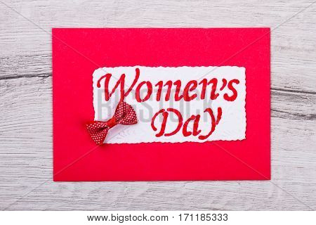 Greeting card for Women's Day. Greeting card with bow tie. Congratulate your mother. Nice handmade surprise.