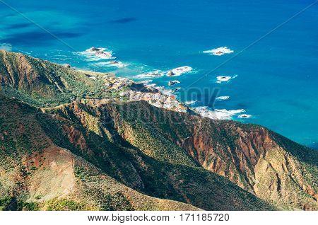 Top view on Almaciga village from Anaga mountains Tenerife Spain