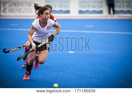 VALENCIA, SPAIN - FEBRUARY 12: Marlena Rybacha during Hockey World League Round 2 Final match between Spain and Poland at Betero Stadium on February 12, 2017 in Valencia, Spain