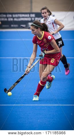 VALENCIA, SPAIN - FEBRUARY 12: Carola Salvatella during Hockey World League Round 2 Final match between Spain and Poland at Betero Stadium on February 12, 2017 in Valencia, Spain