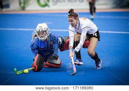 VALENCIA, SPAIN - FEBRUARY 12: (L) Garcia (R) Blaszyk during Hockey World League Round 2 Final match between Spain and Poland at Betero Stadium on February 12, 2017 in Valencia, Spain