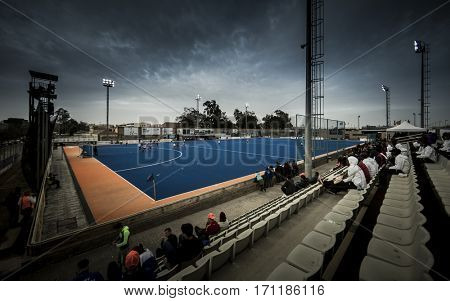 VALENCIA, SPAIN - FEBRUARY 12: The field during Hockey World League Round 2 Final match between Spain and Poland at Betero Stadium on February 12, 2017 in Valencia, Spain