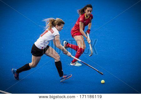 VALENCIA, SPAIN - FEBRUARY 12: (L) Skoraszewska (R) Grau during Hockey World League Round 2 Final match between Spain and Poland at Betero Stadium on February 12, 2017 in Valencia, Spain