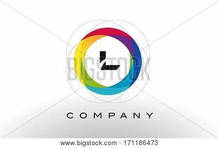 L Letter Logo with Rainbow Circle Design. Colorful Rounded Circular Letter Design