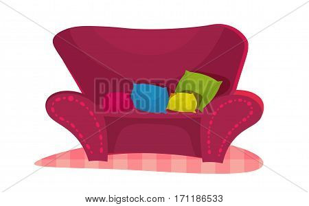 Pink Chair classic cartoon style. glamourus sofa for girl with four color pillows on it.