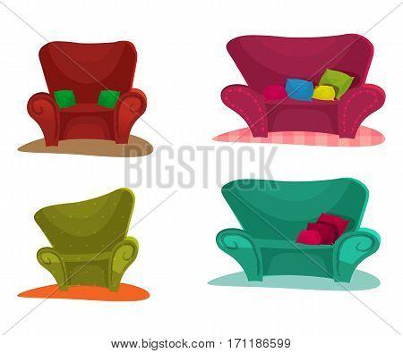 Sofa. Set Vector Illustration cartoon style .vector illustration. armchair